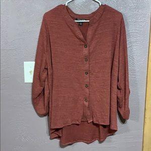 Long Sleeve Button Up V-Neck Plus Size Shirt